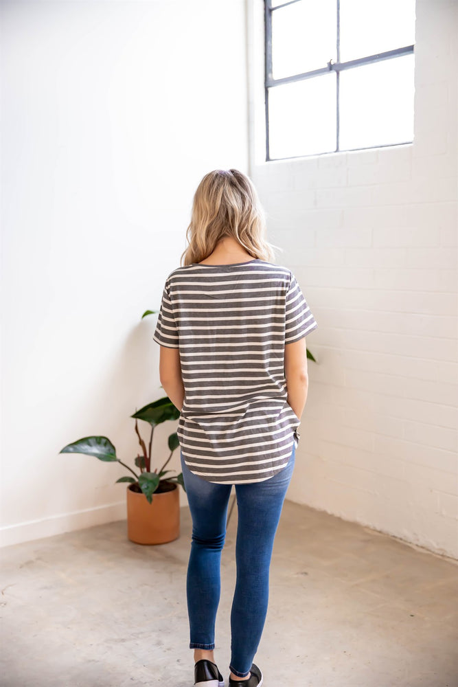Short Sleeve Striped Mia Top - Charcoal