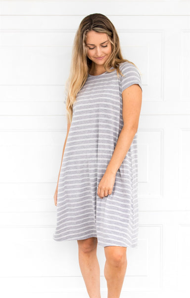 Stripe Swing Dress - Gray - Tickled Teal LLC
