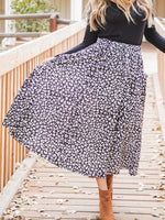 Animal Print Olive Pocket Skirt - Black Leopard