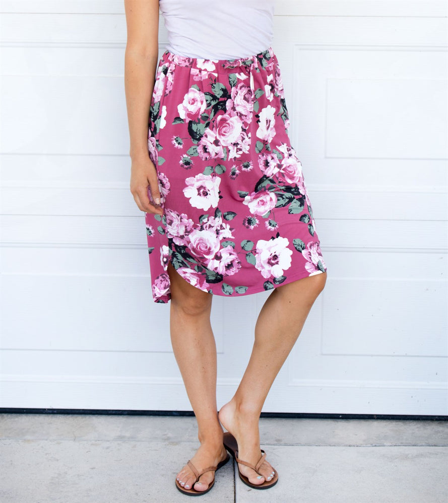 Floral Weekend Skirt - Pink - Tickled Teal LLC