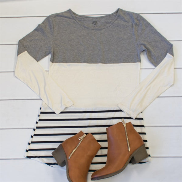 Colorblock Stripe Tunic - Tickled Teal LLC