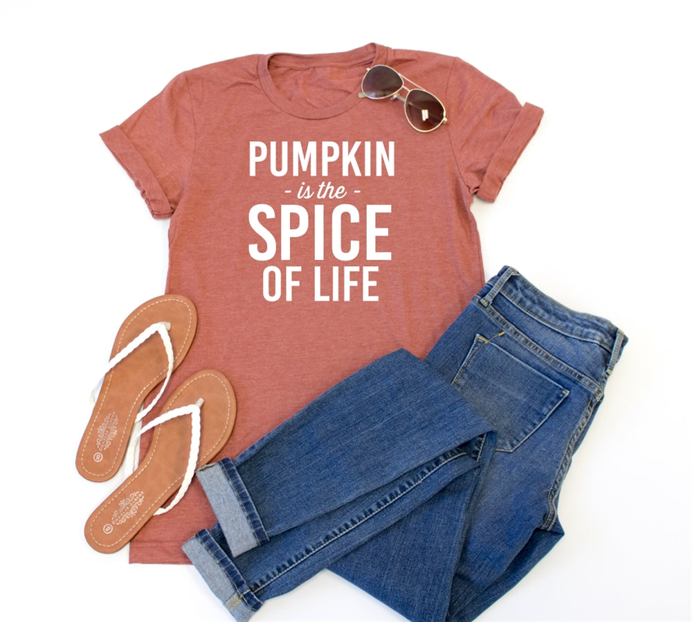 Pumpkin is the spice of life Crew Neck Tee - Tickled Teal LLC