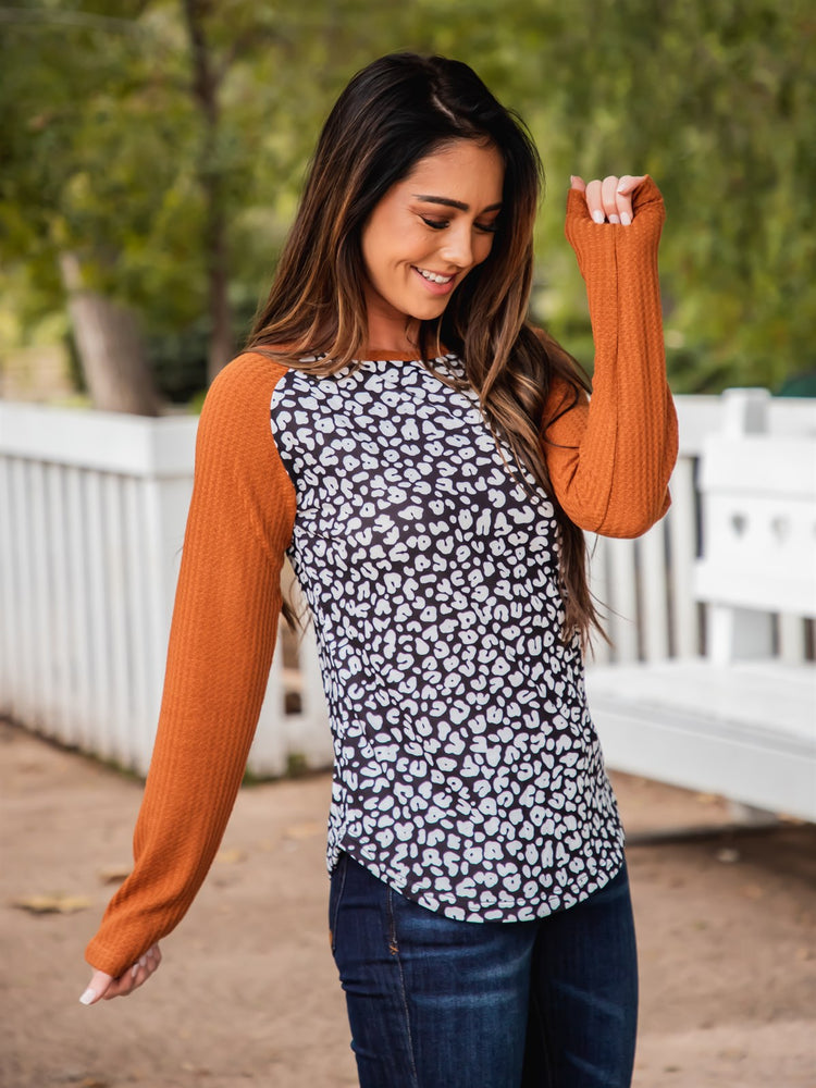 Monica Top - Black Cheetah/Orange