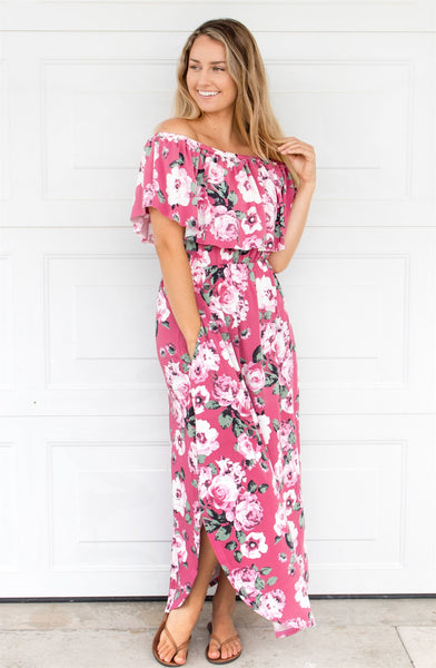 Floral Off The Shoulder Maxi Dress - Pink - Tickled Teal LLC