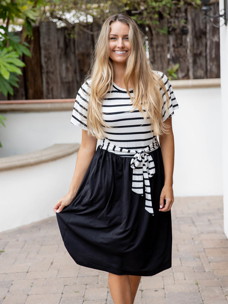 Striped Layne Dress - Black