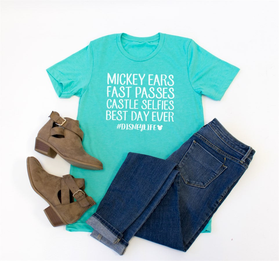 Mickey Ears Fast Passes #Disneylife Crew Neck Tee - Tickled Teal LLC