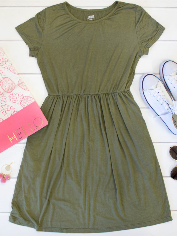 Gathered T-shirt Dress - Olive