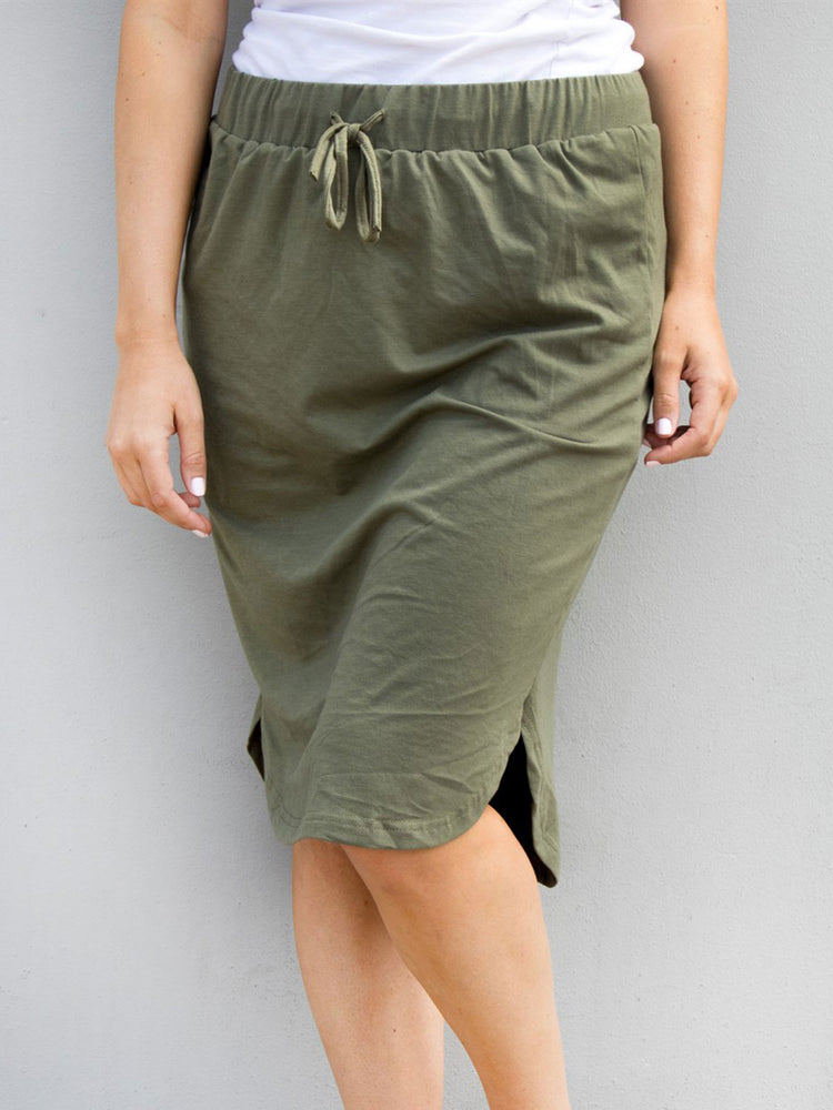 Solid Weekend Skirt - Olive - S-3X
