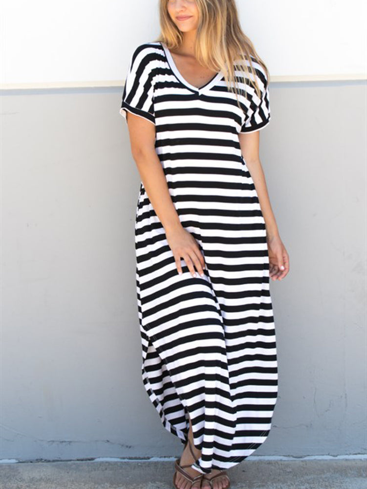 Striped Relaxed Maxi Dress - Black