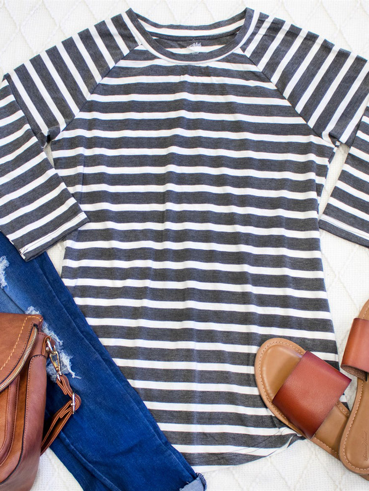 Striped Sydney Tunic | S-3X  - Charcoal