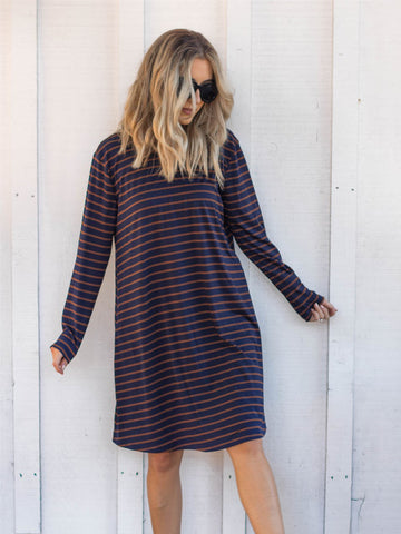 The Jamey Dress - Navy/Brown