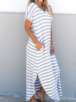 Striped Relaxed Maxi Dress - Gray