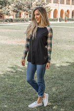 The Brier Top - Black/Green - Tickled Teal LLC