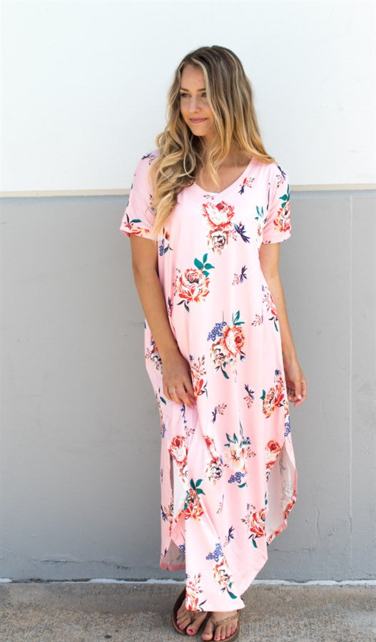 Relaxed Floral Maxi Dress - Pink - Tickled Teal LLC