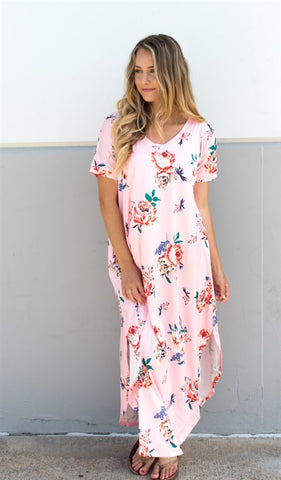 Relaxed Floral Maxi Dress - Pink