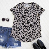 Short Sleeve Leopard Top | S-3X - Gray