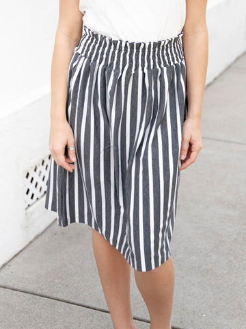 Striped Tracie Skirt - Charcoal