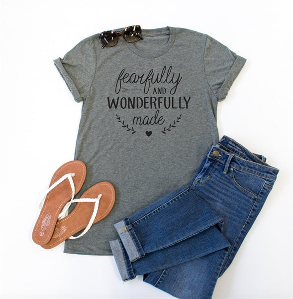 Fearfully and Wonderfully Made Crew Neck Tee - Tickled Teal LLC