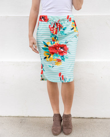 Jordan Floral Weekend Skirt | S-3X - Teal