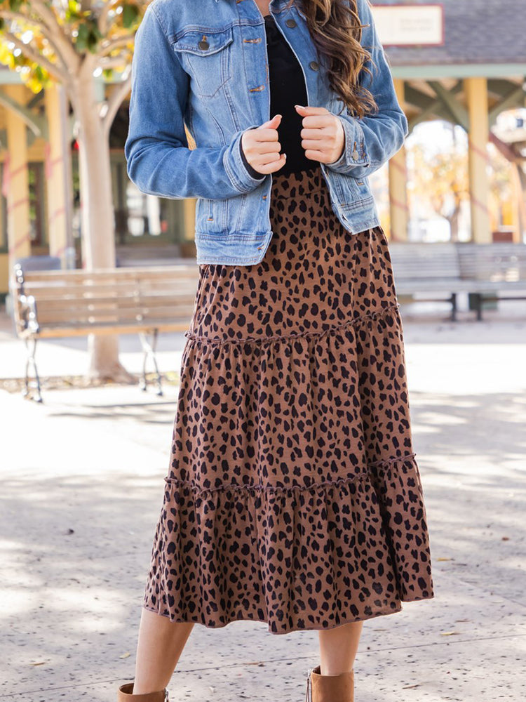 Amara Skirt - Dark Brown Cheetah