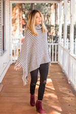 Stripe Poncho - Gray & White - Tickled Teal LLC