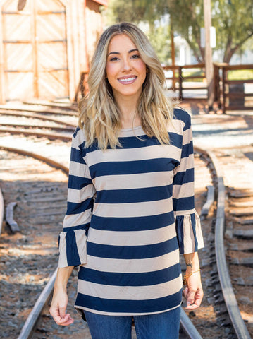 The Allie Top - Navy/Tan