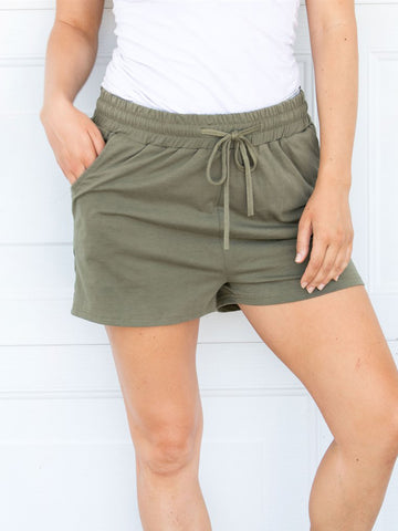 Solid Lounge Shorts - Olive