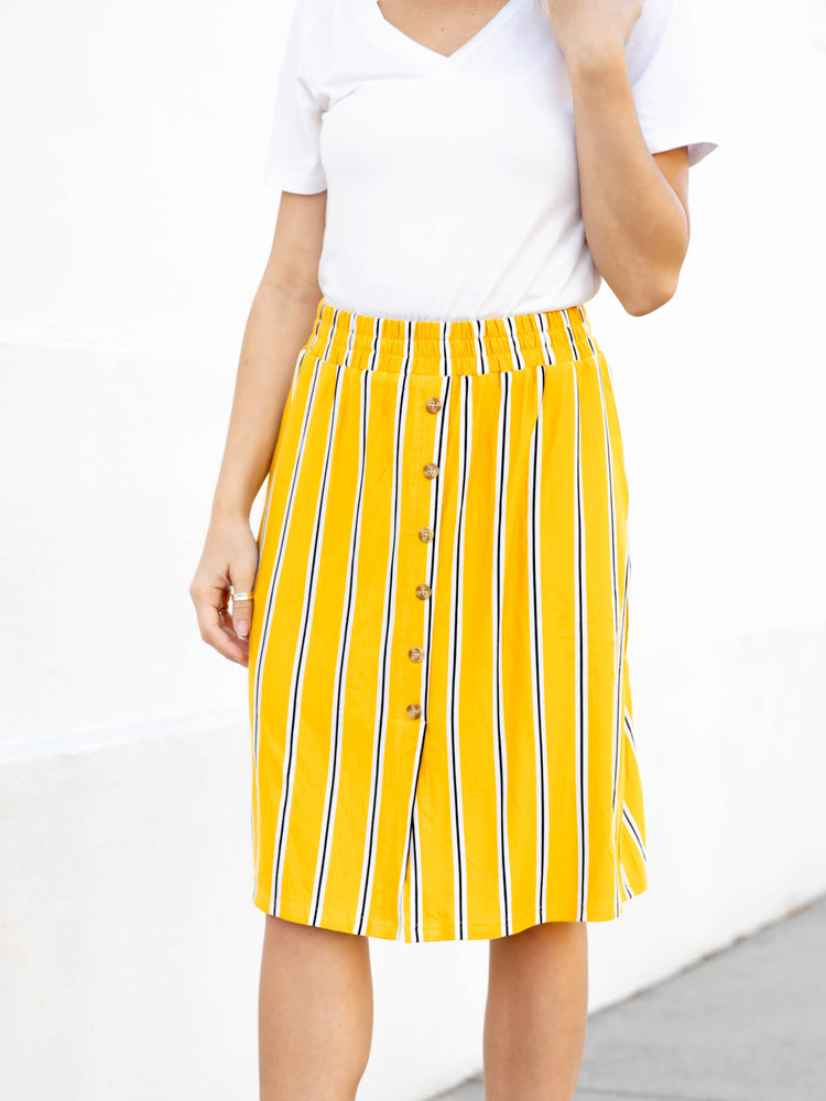Hazel Skirt - Yellow Navy