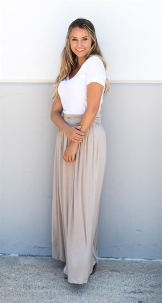 Pocket Maxi Skirt - Tan - Tickled Teal LLC