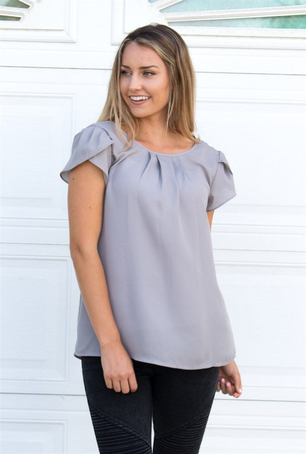 Tulip Sleeve Blouse - Tickled Teal LLC