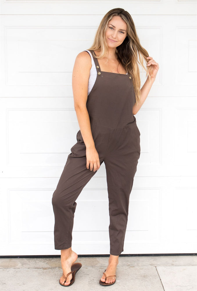 The Lyndsey Overalls - Brown - Tickled Teal LLC
