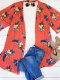 Floral Kimono - Burnt Orange - Tickled Teal LLC