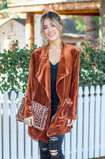 The Poppy Velvet Cardigan - Rust - Tickled Teal LLC