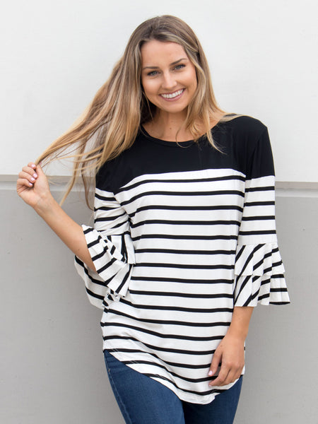 Double Ruffle Stripe Color Block Top - Black