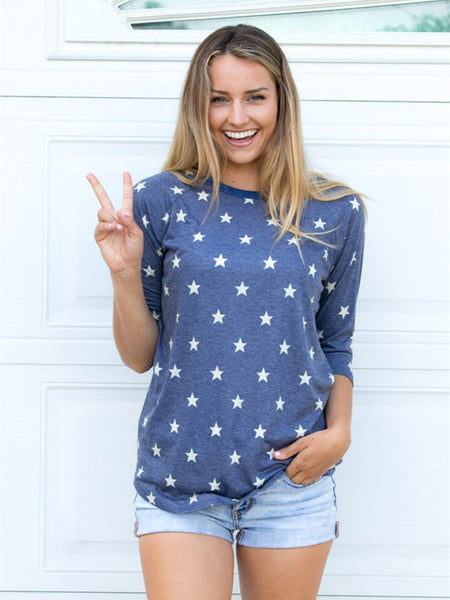 Patriotic Star 3/4 Sleeve Tee - Tickled Teal LLC