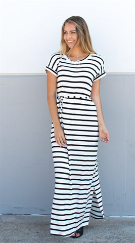 Cuffed Sleeve Striped Maxi Dress - Tickled Teal LLC