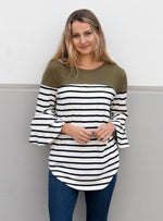 Double Ruffle Stripe Color Block Top - Olive - Tickled Teal LLC