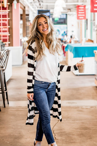 The Layla Sweater - Black & White - Tickled Teal LLC