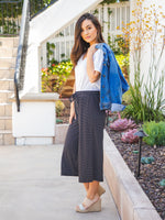 Dove Gaucho Pants - Black Stripe