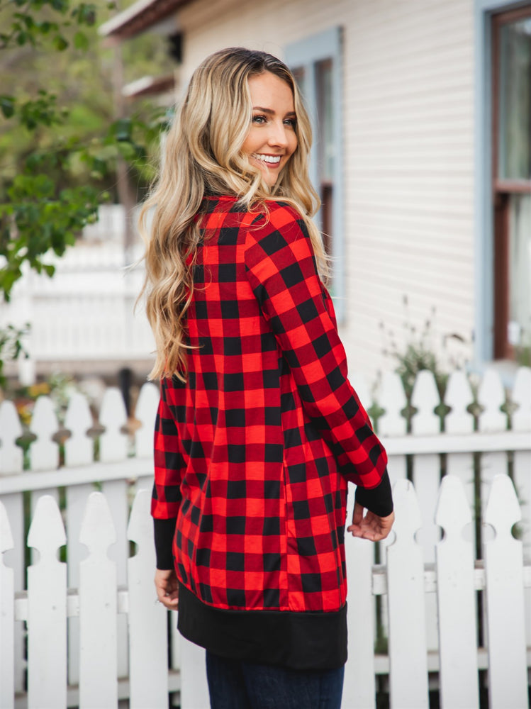 Vivian Cardigan - Red Plaid