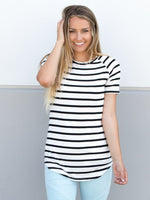 Short Sleeve Stripe Tunic - White