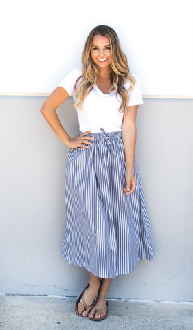 Pin Stripe Midi Skirt - Tickled Teal LLC