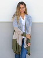 Color Block Cardigan - Green