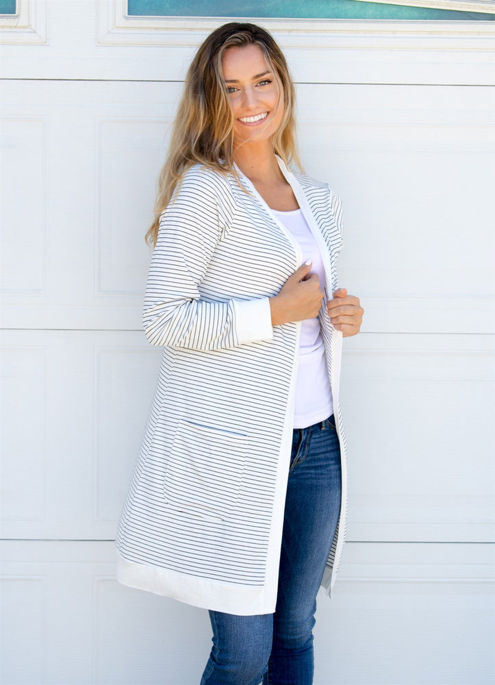 Striped Pocket Cardigan - Tickled Teal LLC