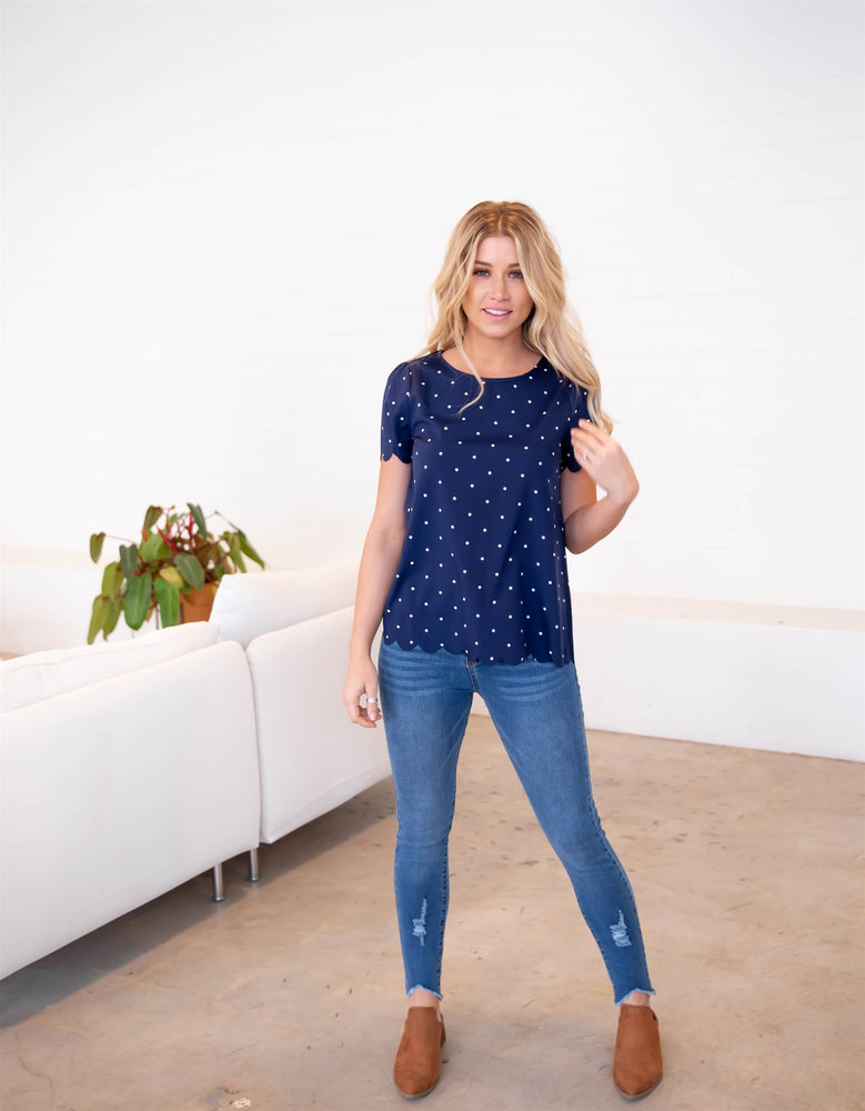 The Dotty Top - Navy