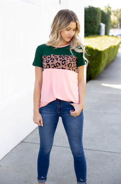 The Saylor Top | S-3X - Pink/Forest