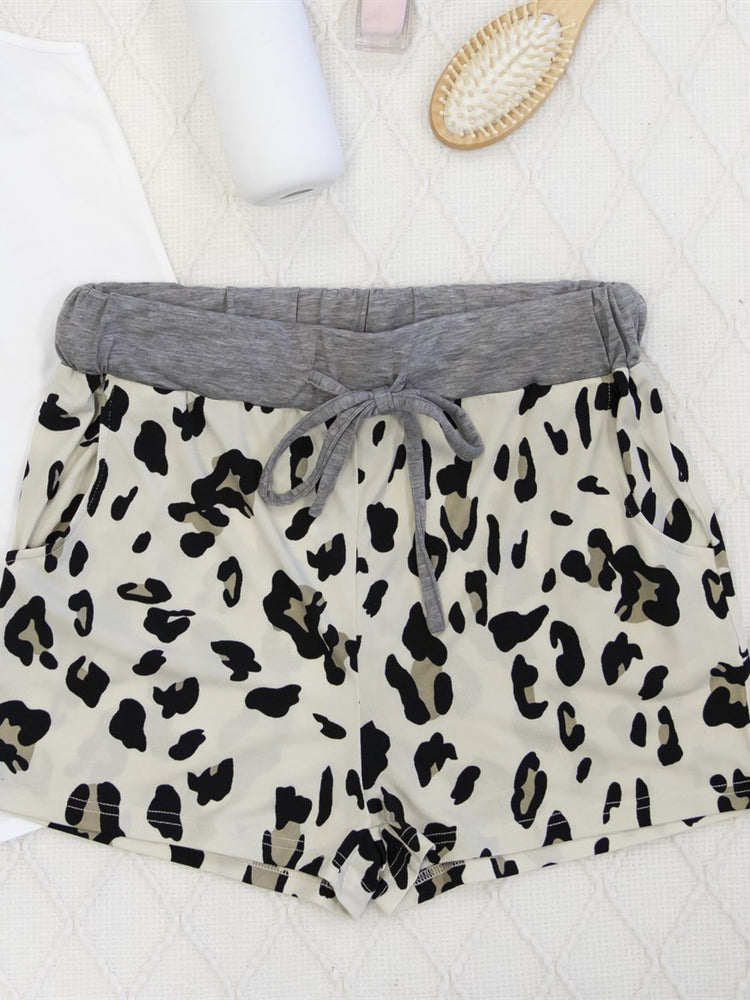 Leopard Lounge Shorts - Cream