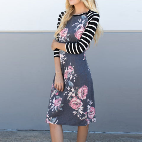 Floral & Stripe Midi Dress - Tickled Teal LLC