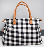 Buffalo Plaid Weekend Bag - White - Tickled Teal LLC
