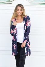 Long Sleeve Floral Cardigan - Tickled Teal LLC